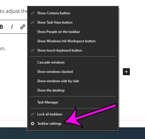 select Taskbar settings