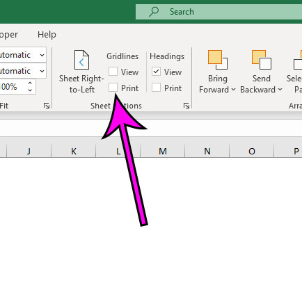 how to remove gridlines in Excel for Office 365